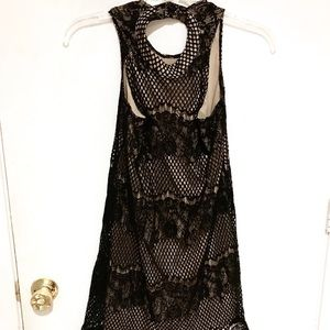 Tan and black lace special event tank dress Sz M